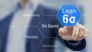 70727592 - businessman touching lean six sigma button for improved manufacturing